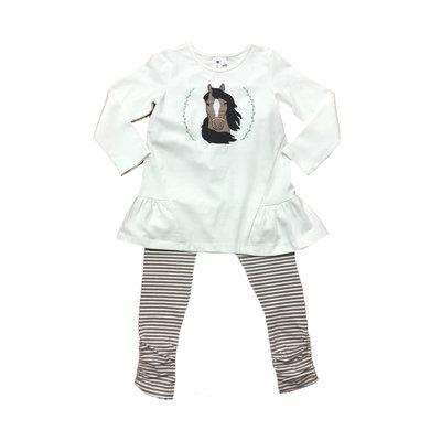Globaltex Horse Applique Cream Tunic with Tan Stripe Legging
