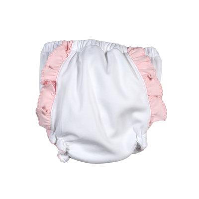 Baby Bliss Monogram Me Pima Diaper Cover White/Pink Ruffle