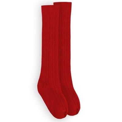Jefferies Socks Red Cable Knee Sock