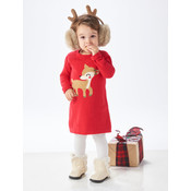 Cotton Knit Deer Sweater Dress