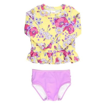 Ruffle Butts Daisy Delight Long Sleeve Rash Guard Bikini