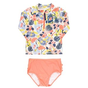 Ruffle Butts Tropical Flamingo Long Sleeve Zipper Rash Guard Bikini