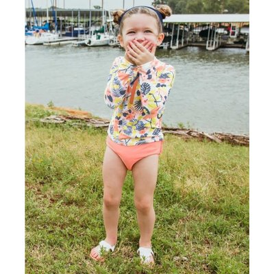 Ruffle Butts Tropical Flamingo Long Sleeve Zipper Rash Guard Bikini