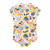 Ruffle Butts Tropical Flamingo Short Sleeve 1PC Rash Guard