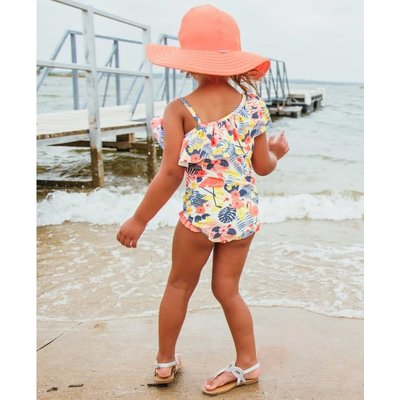 Ruffle Butts Tropical Flamingo One Shoulder Ruffle 1PC