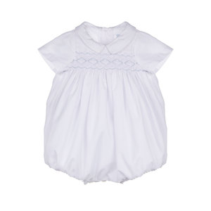 Luli & Me Classic White Smocked Boy Bubble