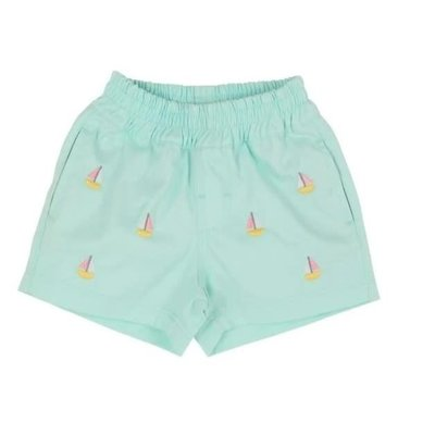 Beaufort Bonnet Company Sea Island Seafoam/Sailboat Yellow Critter Sheffield Shorts