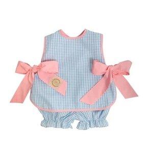 Beaufort Bonnet Company Brookline Blue Windowpane/Sandpearl Pink Talbott Tie Side - Broadcloth