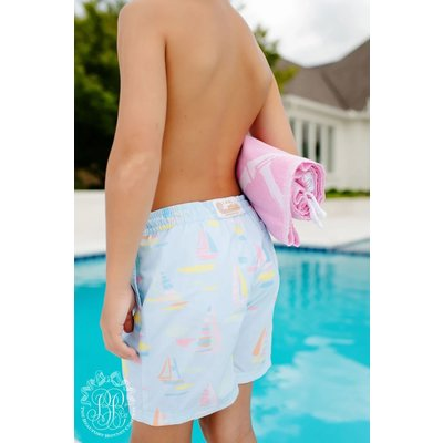 Beaufort Bonnet Company Sandyport Sailboats-Blue Tortola Swim Trunks