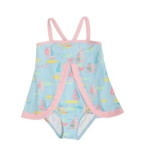 Beaufort Bonnet Company Sandyport Sailboats/Palm Beach Pink Stratford Scallop Swimsuit