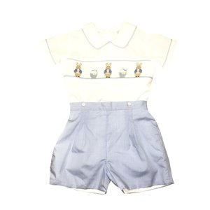 Lulu Bebe LLC Blue Bunny Smocked 2PC Short Set
