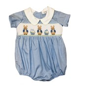 Lulu Bebe LLC Blue Bunny Smocked Boy Bubble