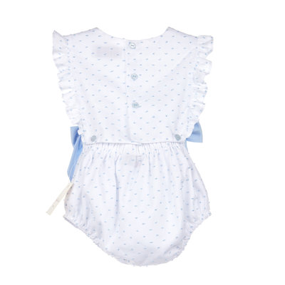 Sophie & Lucas Blue Dot Girl Overall w/Bows