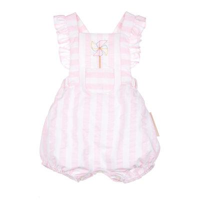 Sophie & Lucas Pink Sunny Stripe Pinwheel Girl Overall