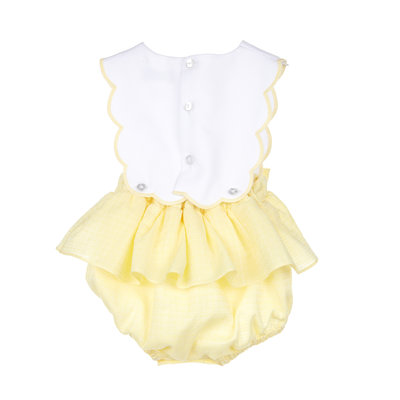 Sophie & Lucas Yellow Sherbert Scallop Girl Overall w/Bows