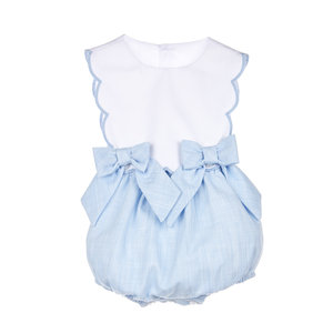 Sophie & Lucas Blue Carolina Scallop Overall w/Bows