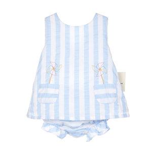 Sophie & Lucas Blue Sunny Stripe Pinwheel 2PC Swing Set