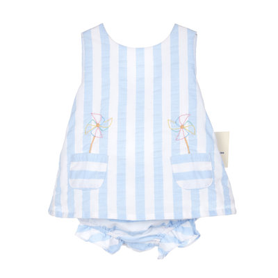 Sophie & Lucas Blue Sunny Stripe Pinwheel 2PC Swing Set