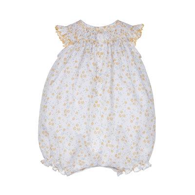 Luli & Me Yellow Cotton Candy Smocked Bubble w/Bonnet
