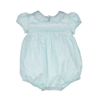 Luli & Me Turquoise Mini Floral Sweet Bubble w/Bonnet