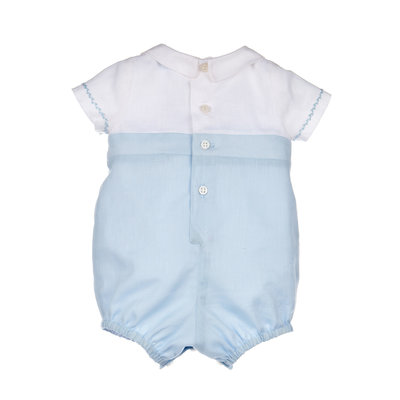 Luli & Me Blue Two Tone Boy Romper