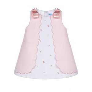 Luli & Me Pink Embroidery Scallop Aline Dress