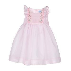 Luli & Me Pink Butterfly Ruffles Smocked Dress