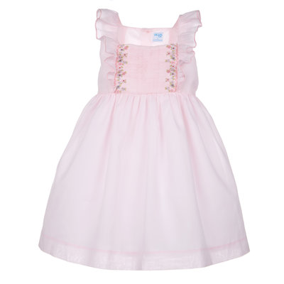 Luli & Me Pink Butterfly Ruffles Square Neck Smocked Dress