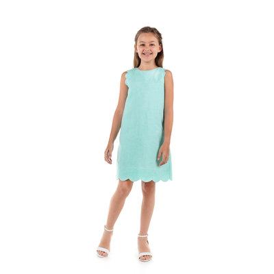 Gabby Aqua Scallop Solid Shift Dress