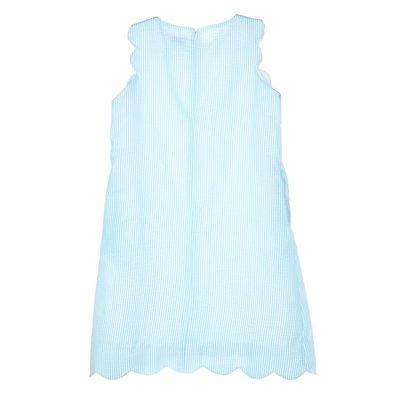 Gabby Aqua Seersucker Scallop Shift Dress