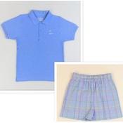 Funtasia, Too Blue Plaid Boat Polo Short Set
