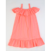 Maggie Breen Coral Print Ruffle Shoulder Dress