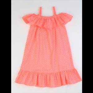 Maggie Breen Coral Print Ruffle Shoulder Dress