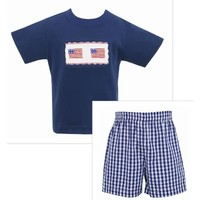 Anavini 4th of July Flag Boy Short Set