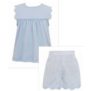 Anavini Blue Scallop Tee & Short Set