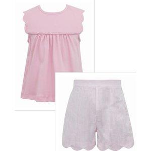 Anavini Lt Pink Scallop Tee & Short Set