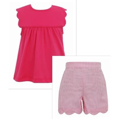 Anavini Hot Pink Scallop Tee & Short Set