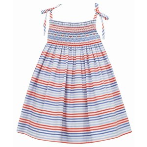 Anavini Red, White & Blue Stripe Shoulder Tie Dress