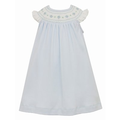 Petit Bebe Lt Blue Smocked Knit Bishop