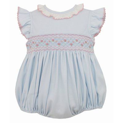 Petit Bebe Lt Blue w/Pink Smocked Bubble