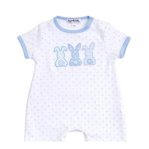 Magnolia Baby Bunny Trio Applique Short Playsuit - Lt Blue