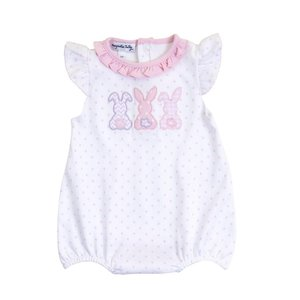Magnolia Baby Bunny Trio Applique Flutters Bubble - Pink