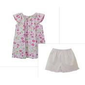Zuccini Woven Floral Pink Champaigne Elaine Blouse & Pink Shorts Set