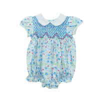 Zuccini Smocked Girl Blue Sky Floral Adelaide Bubble