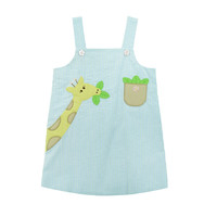 Zuccini Seersucker Mint Stripe Applique Giraffe Bryce Dress