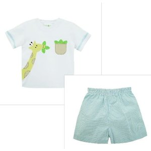 Zuccini Applique Giraffe Harry's Knit Short Set