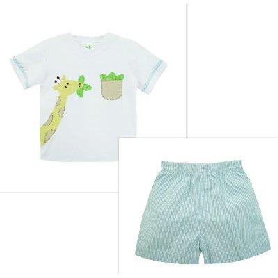 Zuccini Applique Giraffe Harry's Knit Short Set