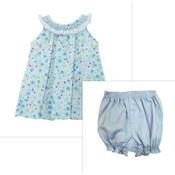 Zuccini Smocked Blue Sky Floral Ivy Blouse & Bloomer Set