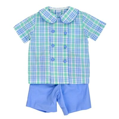 Bailey Boys Watercolor Plaid Dressy Short Set