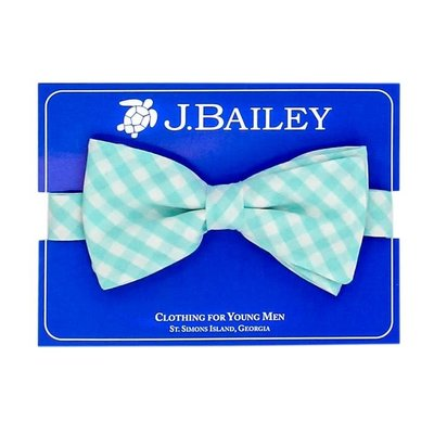 J Bailey Mint Gingham Bow Tie